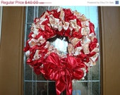 30% OFF Holiday red and Cream Gingerbread Man Ribbon Wreath with Small Peppermints.