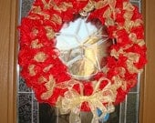 SALE 10 Dollars OFF Holiday red and gold ribbon wreath with sparkle.