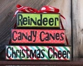 Christmas Stacker Blocks - Reindeer, Candy Canes, Christmas Cheer - Fabulous Christmas Home Decor