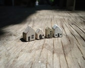 Crackled Mini Houses- Dollhouse Miniature- Set of Four