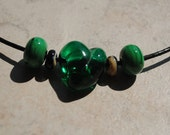 Green Glass Heart Pendant on Leather Necklace