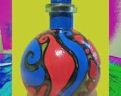 Bottle Art , Painted Bottle , Funky Art , Funky and Original Art On Bottles , One Of A Kind Handpainted Original Design