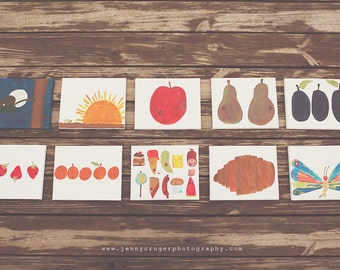 Artist Rendition of Eric Carle's Very Hungry Caterpillar- Set of 10, 8x10 canvases