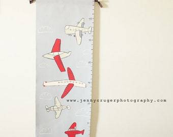 Hand Painted Children's Growth Chart, M2M Land of Nod Come Fly With Me Airplane Bedding