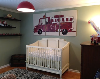 Triptych fire truck painting on three, 24x36 canvases