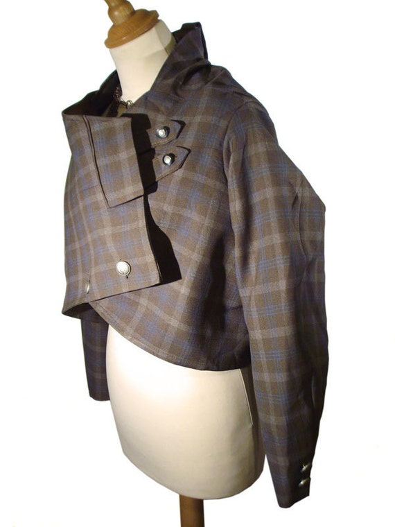 Steampunk cropped jacket coat for women brown plaid check asymmetric