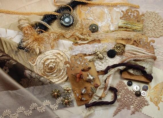 Inspiration Kit. Neapolitan Collection. Tiramisu - Textile/Embellishment Collection. Gold, black and Taupe No. 74b