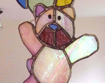 Pink Bear with Coloured Balloons, stained glass light catcher