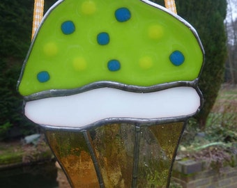Stained Glass Spring Green Cupcake Suncatcher