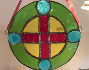 Cairo Coptic Cross - colourful stained glass lightcatcher