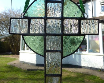 Green and Clear Celtic Cross, stained glass light catcher MTO