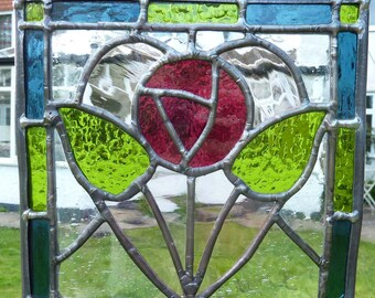 Victorian style stained glass panel with Pink Rose MTO
