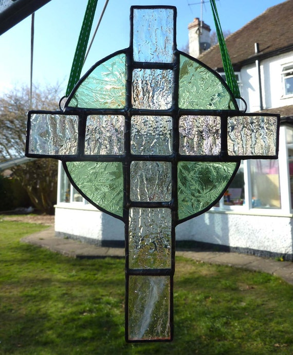 Green and Clear Celtic Cross stained glass light by ...