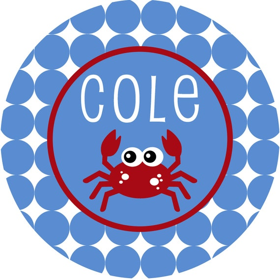 Personalized Monogrammed Crab Melamine Plate