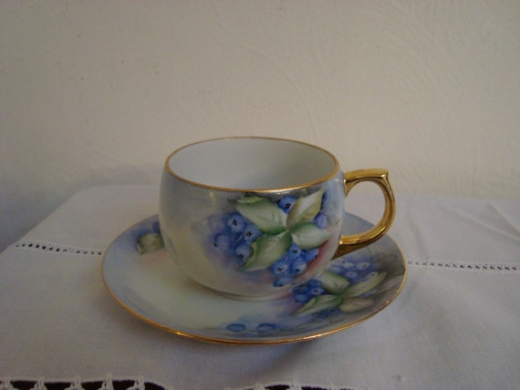 Hand Painted Blueberries Teacup & Saucer