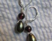 green freshwater pearl and garnet earrings
