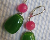 kelly green quartz and strawberry jade earrings