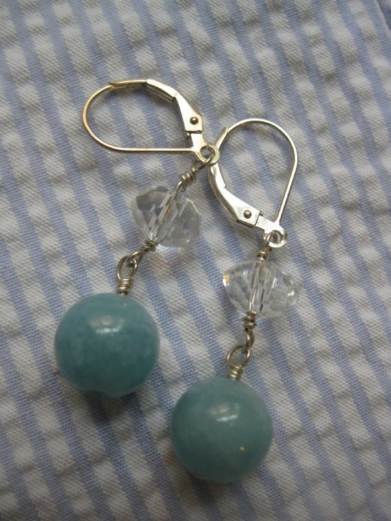 Blue chalcedony and faceted rock quartz earrings