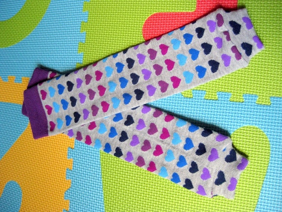 Purple and Blue Hearts Baby Leg Warmers, baby legs, baby girl leggings, baby shower gift, arm warmers