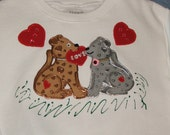 Girls Valentine's Day Sweatshirt Size Med (6-8) White Puppy Love and Hearts
