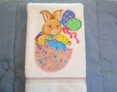 Easter Hand Towel Bathroom or Kitchen Bunny, Eggs, and Balloons