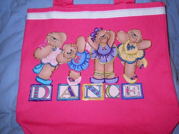 Tote Purse Bag Carry All Girls Pink Dance Ballet Bears
