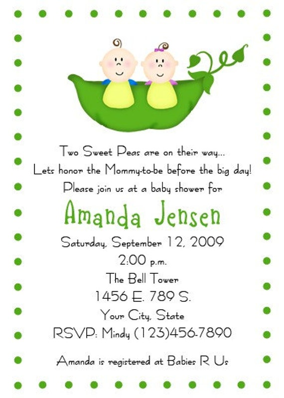 two peas in a pod baby shower invitation customizable print your