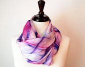hand dyed silk scarf - pink and purple plaid