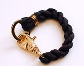 silk twist bracelet w/ gold plated hardware in charcoal