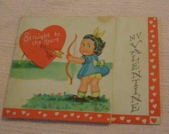 Vintage Valentine's Day Card little girl in blue dress shooting arrows ephemera