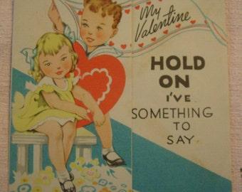 Vintage Valentine's Day Card little girl and little boy ephemera