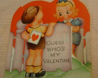Vintage Valentine's Day Card little boy and little girl at fence garden gate