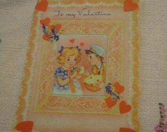 Vintage Valentine's Day Card little girl and mailman ephemera