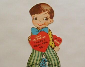 Vintage Valentine card little boy