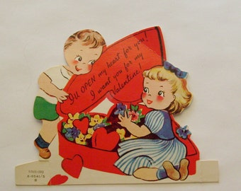 Vintage Valentine card little girl and boy with candy box Ameri-card