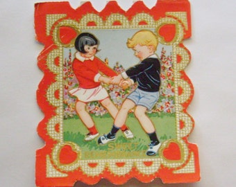 Vintage Valentine's Day Card little girl and boy