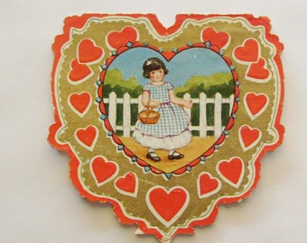 Vintage Valentine's Day Card Whitney Made heart shaped little girl in blue gingham dress with basket