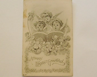 Antique Easter postcard cherub angels singing with violets and flowers black and white illustration Luxembourg