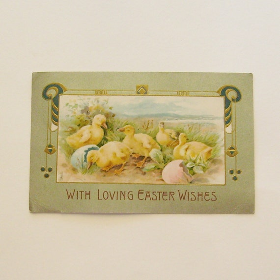Antique Easter postcard chicks with egg shells