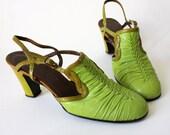 25% STOREWIDE SALE - vintage 60's Braided Avocado Slingback Heels size 6.5