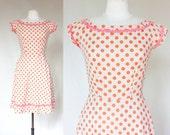 SALE 50s polka dot dress - a line boatneck ric rac - Small