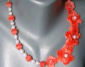 crochet and bead flower necklace-spring in your heart made to order