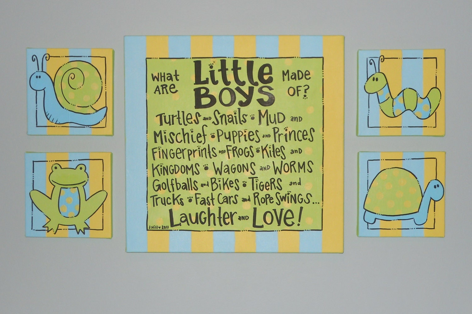 Custom Hand Painted Baby Art What Are Little Boys Made Of Poem