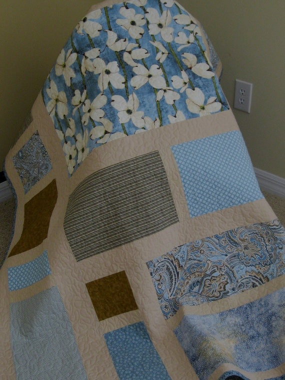 Blue, Beige -Contemporary/Modern Lap Quilt