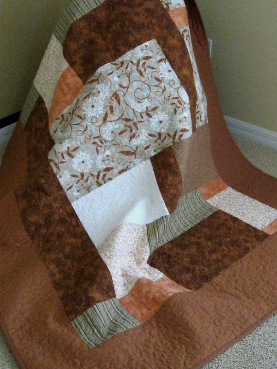 CLEARANCE - Brown/Rust/Cream - Modern/Contemporary Quilt