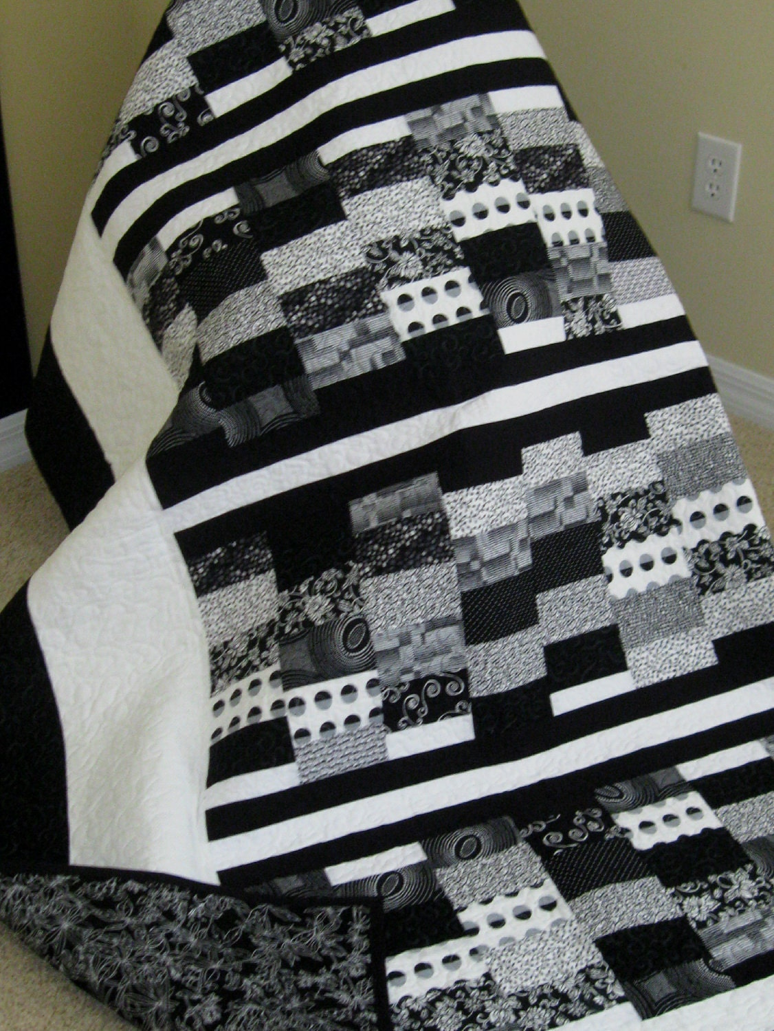Black White Contemporary Modern Lap Quilt Reduced 85 00