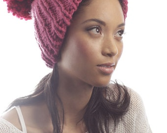 FEATURE SALE - Two Tone Pom Pom Knit Hat