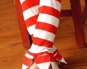 Petal Pants Leggings in Red and White Seuss Stripes - size 3T - RTS