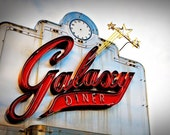 Route 66 Galaxy Diner Neon Sign - Graphic Kitchen Decor - Retro Wall Art - Neon Typography - Vintage Clock - Fine Art Photography
