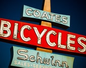 Route 66 Coates Schwinn Bicycle Sign - Vintage Neon Sign Art - Bike Shop Sign - Pomona California - Typography - Fine Art Photography